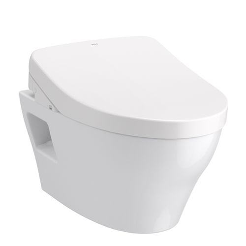 """EP Wall-Hung Elongated Toilet with S500e WASHLET+ and DuoFit In-Wall Tank System - Matte Silver (21.25"""" x 50.38"""" x 25.4"""")"""