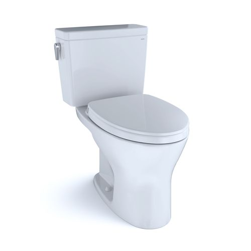 """Drake Two-Piece Dual-Flush Universal-Height Elongated Toilet with CEFIONTECT and Soft-Close Seat - Cotton White (27.38"""" x 30.06"""" x 17.31"""")"""
