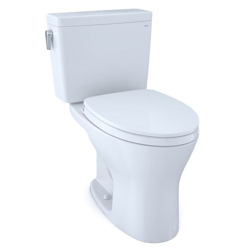 """Drake 1G Two-Piece Dual-Flush Universal-Height Elongated Toilet with CEFIONTECT and Soft-Close Seat - Cotton White (27.38"""" x 28.88"""" x 17.31"""")"""