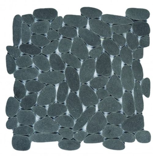 """Reconstituted Sliced Pebble Tile - Black (12"""" x 12"""" sheet)"""