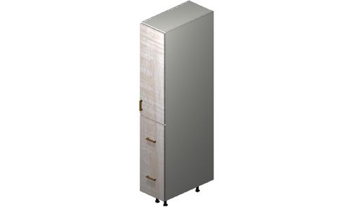"""Cortina Oyster Shell 12"""" x 71.25"""" x 24"""" 1 Door, 2 Drawers Tall Cabinet"""