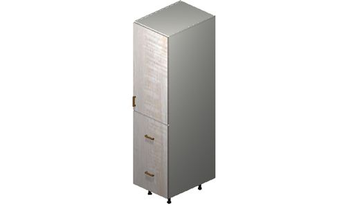 """Cortina Oyster Shell 18"""" x 71.25"""" x 24"""" 1 Door, 2 Drawers Tall Cabinet"""