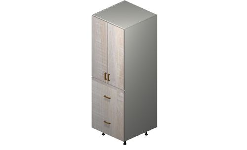 """Cortina Oyster Shell 24"""" x 71.25"""" x 24"""" 2 Doors, 2 Drawers Tall Cabinet"""