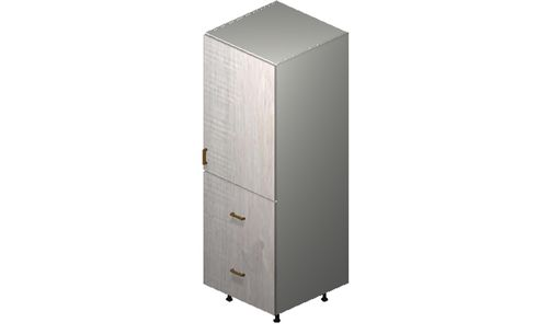 """Cortina Oyster Shell 24"""" x 71.25"""" x 24"""" 1 Door, 2 Drawers Tall Cabinet"""