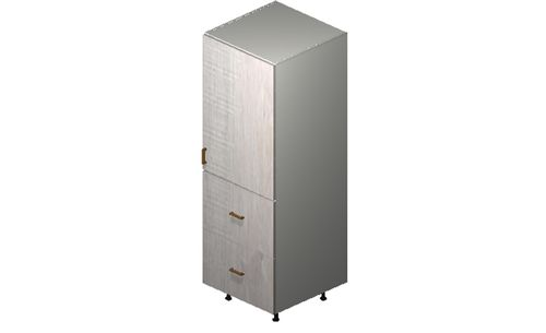 """Cortina Oyster Shell 24"""" x 71.25"""" x 24"""" 1 Door, 2 Drawers, 1 Inner Drawer Tall Cabinet"""