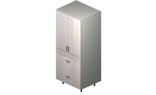"""Cortina Oyster Shell 30"""" x 71.25"""" x 24"""" 2 Doors, 2 Drawers, 1 Inner Drawer Tall Cabinet"""