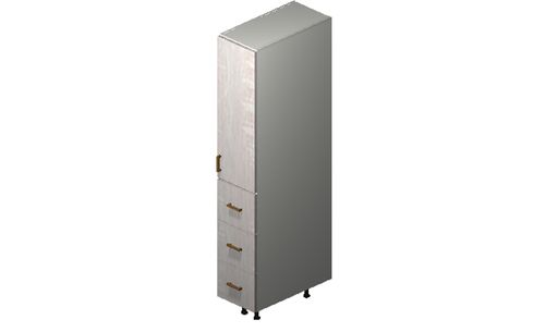 """Cortina Oyster Shell 12"""" x 71.25"""" x 24"""" 1 Door, 3 Drawers Tall Cabinet"""