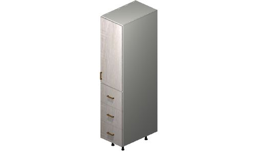 """Cortina Oyster Shell 15"""" x 71.25"""" x 24"""" 1 Door, 3 Drawers Tall Cabinet"""