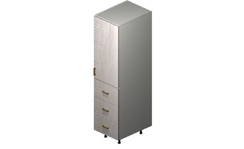 """Cortina Oyster Shell 18"""" x 71.25"""" x 24"""" 1 Door, 3 Drawers Tall Cabinet"""