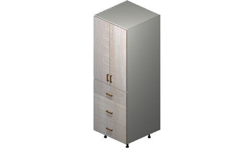 """Cortina Oyster Shell 24"""" x 71.25"""" x 24"""" 2 Doors, 3 Drawers Tall Cabinet"""