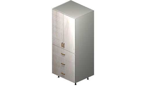 """Cortina Oyster Shell 30"""" x 71.25"""" x 24"""" 2 Doors, 3 Drawers Tall Cabinet"""