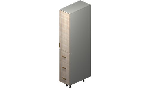 """Cortina Conch Shell 12"""" x 71.25"""" x 24"""" 1 Door, 3 Drawers Tall Cabinet"""