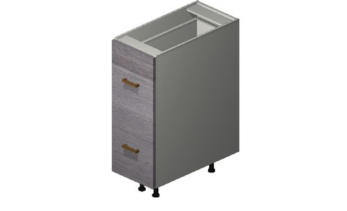 """Marquis Grey Wood 12"""" x 34.75"""" x 24"""" 2 Drawers Base Cabinet"""