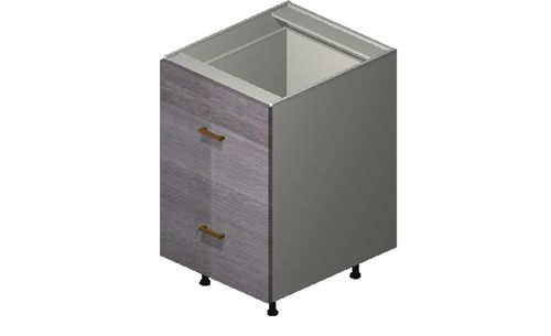 """Marquis Grey Wood 21"""" x 34.75"""" x 24"""" 2 Drawers Base Cabinet"""