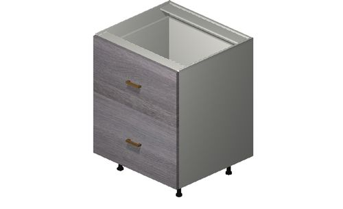 """Marquis Grey Wood 27"""" x 34.75"""" x 24"""" 2 Drawers Base Cabinet"""