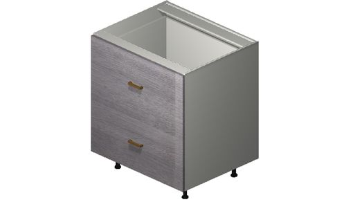 """Marquis Grey Wood 30"""" x 34.75"""" x 24"""" 2 Drawers Base Cabinet"""