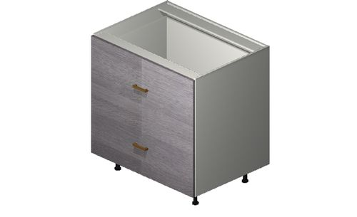 """Marquis Grey Wood 33"""" x 34.75"""" x 24"""" 2 Drawers Base Cabinet"""