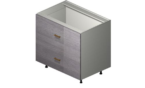 """Marquis Grey Wood 36"""" x 34.75"""" x 24"""" 2 Drawers Base Cabinet"""