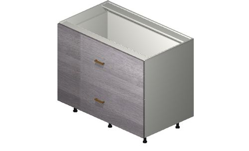 """Marquis Grey Wood 42"""" x 34.75"""" x 24"""" 2 Drawers Base Cabinet"""