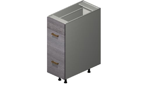 """Marquis Grey Wood 12"""" x 34.75"""" x 24"""" 2 Drawers, 1 Inner Drawer Base Cabinet"""