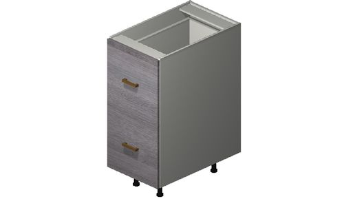 """Marquis Grey Wood 15"""" x 34.75"""" x 24"""" 2 Drawers, 1 Inner Drawer Base Cabinet"""
