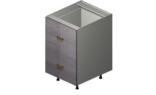 """Marquis Grey Wood 21"""" x 34.75"""" x 24"""" 2 Drawers, 1 Inner Drawer Base Cabinet"""