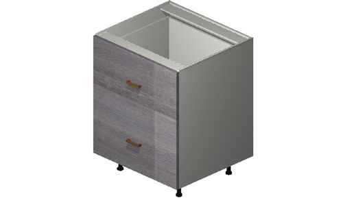 """Marquis Grey Wood 27"""" x 34.75"""" x 24"""" 2 Drawers, 1 Inner Drawer Base Cabinet"""