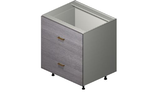 """Marquis Grey Wood 30"""" x 34.75"""" x 24"""" 2 Drawers, 1 Inner Drawer Base Cabinet"""