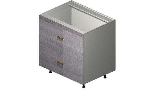 """Marquis Grey Wood 33"""" x 34.75"""" x 24"""" 2 Drawers, 1 Inner Drawer Base Cabinet"""