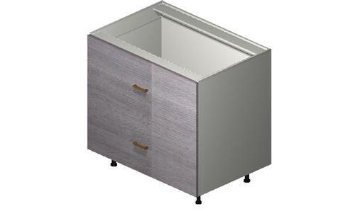 """Marquis Grey Wood 36"""" x 34.75"""" x 24"""" 2 Drawers, 1 Inner Drawer Base Cabinet"""