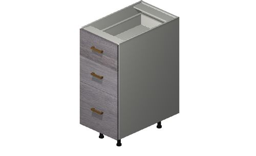 """Marquis Grey Wood 15"""" x 34.75"""" x 24"""" 3 Drawers Base Cabinet"""