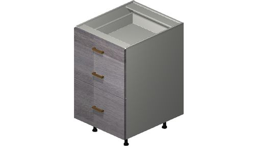 """Marquis Grey Wood 21"""" x 34.75"""" x 24"""" 3 Drawers Base Cabinet"""