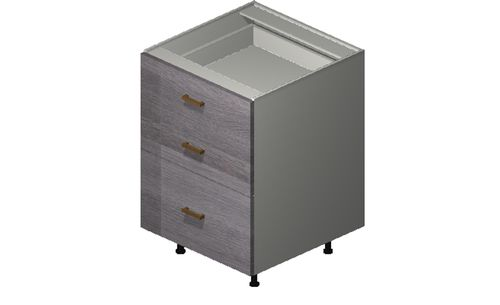 """Marquis Grey Wood 24"""" x 34.75"""" x 24"""" 3 Drawers Base Cabinet"""