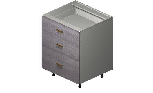 """Marquis Grey Wood 27"""" x 34.75"""" x 24"""" 3 Drawers Base Cabinet"""