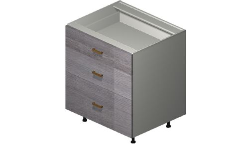 """Marquis Grey Wood 30"""" x 34.75"""" x 24"""" 3 Drawers Base Cabinet"""