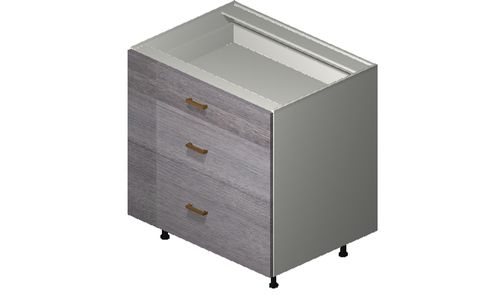 """Marquis Grey Wood 33"""" x 34.75"""" x 24"""" 3 Drawers Base Cabinet"""