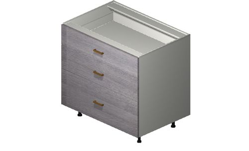 """Marquis Grey Wood 36"""" x 34.75"""" x 24"""" 3 Drawers Base Cabinet"""