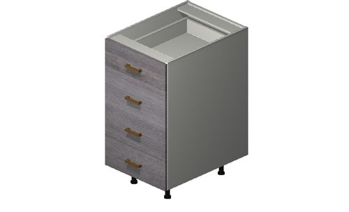"""Marquis Grey Wood 18"""" x 34.75"""" x 24"""" 4 Drawers Base Cabinet"""