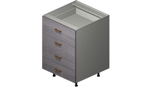 """Marquis Grey Wood 24"""" x 34.75"""" x 24"""" 4 Drawers Base Cabinet"""