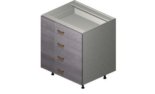 """Marquis Grey Wood 30"""" x 34.75"""" x 24"""" 4 Drawers Base Cabinet"""