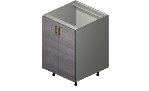 """Marquis Grey Wood 24"""" x 34.75"""" x 24"""" 2 Full-Height Doors Base Cabinet"""