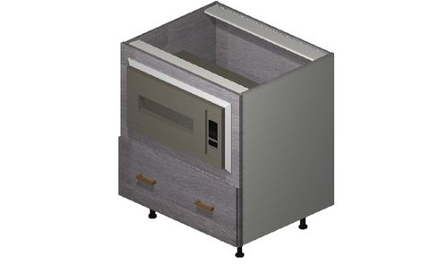 """Marquis Grey Wood 30"""" x 34.75"""" x 24"""" Microwave 1 Drawer Base Cabinet"""
