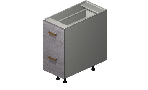 """Marquis Grey Wood 12"""" x 27.13"""" x 24"""" Desk 2 Drawers Base Cabinet"""