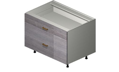 """Marquis Grey Wood 36"""" x 27.13"""" x 24"""" Desk 2 Drawers Base Cabinet"""