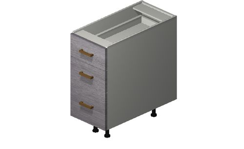 """Marquis Grey Wood 12"""" x 27.13"""" x 24"""" Desk 3 Drawers Base Cabinet"""