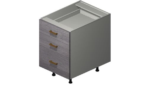 """Marquis Grey Wood 18"""" x 27.13"""" x 24"""" Desk 3 Drawers Base Cabinet"""