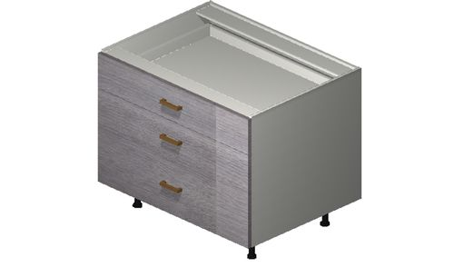"""Marquis Grey Wood 33"""" x 27.13"""" x 24"""" Desk 3 Drawers Base Cabinet"""