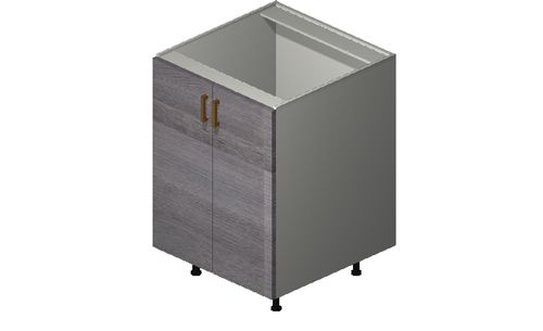 """Marquis Grey Wood 24"""" x 34.75"""" x 24"""" Sink 2 Full-Height Doors Base Cabinet"""