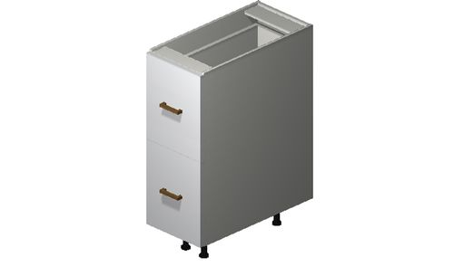 """Monte Carlo Gloss White 12"""" x 34.75"""" x 24"""" 2 Drawers, 1 Inner Drawer Base Cabinet"""