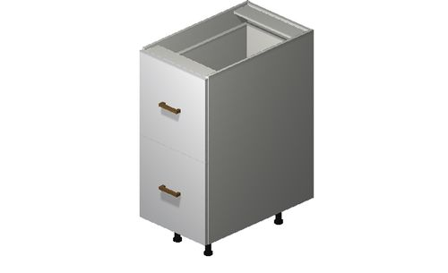 """Monte Carlo Gloss White 15"""" x 34.75"""" x 24"""" 2 Drawers, 1 Inner Drawer Base Cabinet"""
